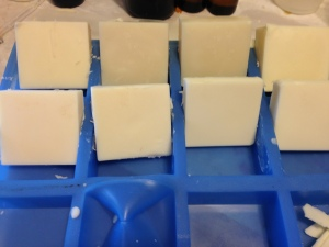 Two-day-old soap - waiting to see if they discolor!